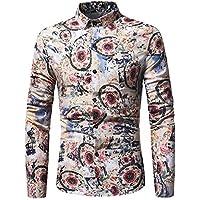 WULIFANG Impresión Floral Moda Hombres Camiseta De Manga Larga Y Delgada De Algodón Camisa De Hombre Casual Caqui XXXL