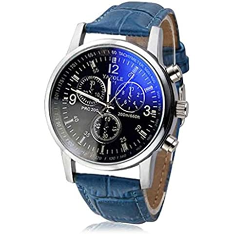 Fortan Lusso cuoio del Faux Mens Blu Ray di vetro orologi al quarzo analogico (Blu)