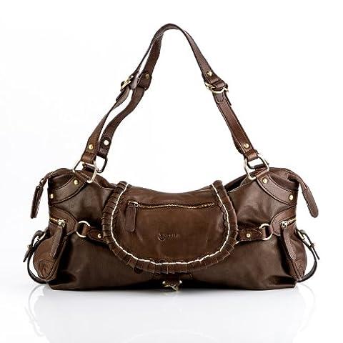 BACCINI tote bag & shoulder bag - handbag GISELE casual gaucho-boho-style - women`s bag brown leather