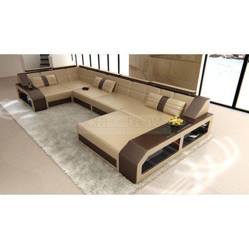 Garniture de Canapé AREZZO forme U beige sable - brun foncé design intérieur de la maison