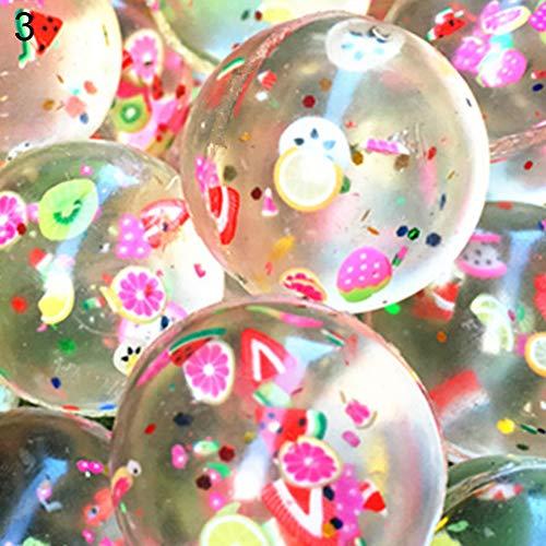 AchidistviQ 100 Stück 25/30 mm transparente Fruchtscheiben Elastische Hüpfbälle für Kinder aus Gummi 3# (Bälle Grube Bulk-ball)