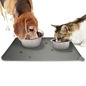 igadgitz Home Tapis de Nourriture en Silicone pour Animaux 47x30cm Tapis Gamelle Antidérapant pour Bols Chien Chat ? Gris