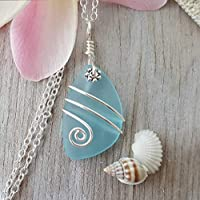 """Handmade in Hawaii, wire wrapped turquoise bay blue sea glass necklace,""""December Birthstone"""", sterling silver chain, Hawaiian Gift, FREE gift wrap, FREE gift message"""