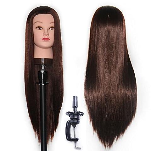 65-70 cm Tête à coiffurer Formation Mannequin Tete d'exercise a coiffer 100% Cheveux synthétique + Titulaire ESJ0418P