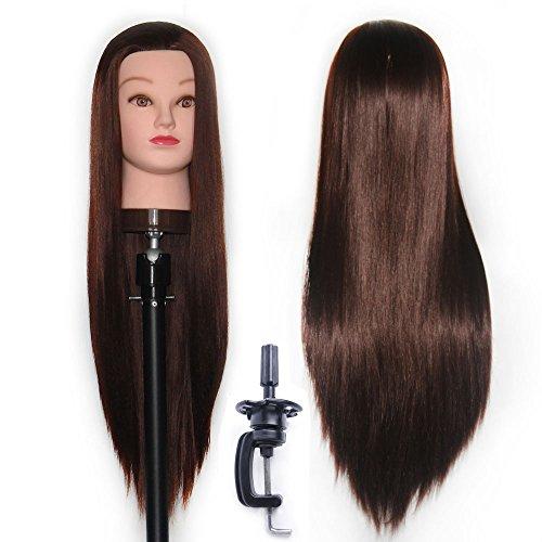 60-65 cm Tête à coiffurer Formation Mannequin Tete d'exercise a coiffer 100% Cheveux synthétique + Titulaire ESJ0418P