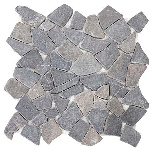 Akzent Fliesen Marmor (Mendler Steinfliesen Vigo T687, Marmor Naturstein-Fliese Mosaik, 11 Stück je 30x30cm = 1qm ~ grau)