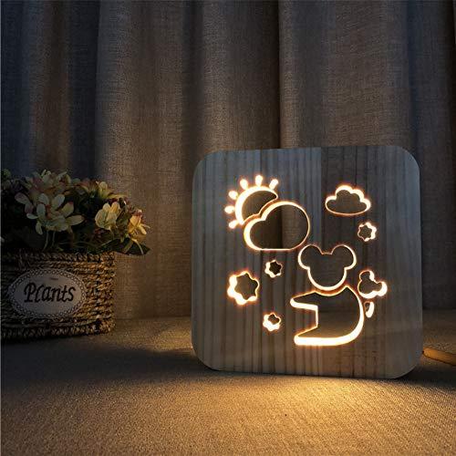 3D LED Nachtlicht Koala Form 3D Nachtlicht Holz Geschnitzt Holz Nachtlicht Nordischen Stil Tischlampe