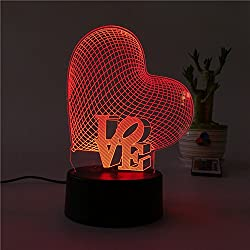 Lámpara 3D Illusion Night, SUNINESS 7 colores Change Touch Control Mesa LED Desk Night Light con USB multicolor Powered for Kids Decoración para el hogar familiar Día de San Valentín (Amor)