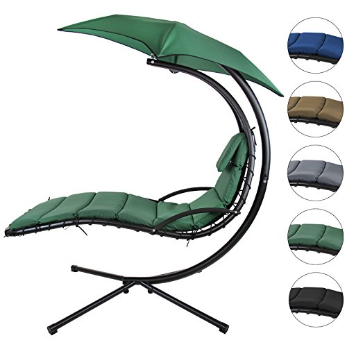 BB Sport Schwebeliege Hängeliege in vielen Farben Schwingliege Sonnenliege mit Sonnenschirm, Auflagen und Nackenkissen, bis 150 kg belastbar
