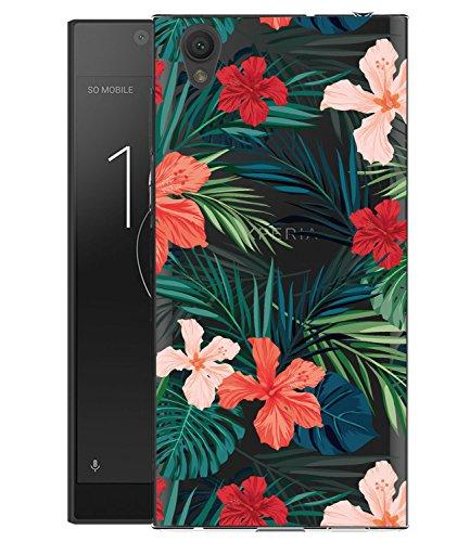 Sony Xperia L1Fall, Xperia L1Fall mit Blumen, baisrke Slim stoßfest Klar Blumenmuster Weiche Biegsame TPU Back Cove für Sony Xperia L1, Palm Tree Leaves -
