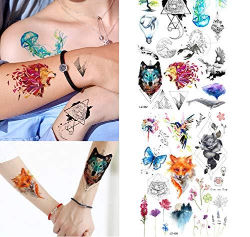 Großhandel Ursprüngliche Tätowierung Flash Body Art Rose Tattoo Männer Und Frauen Gefälschte Diy Eule Henna Tattoo ()