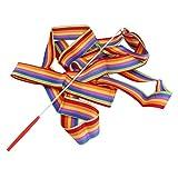 LouiseEvel215 4M Universal Gym Dance Ribbon Arte Ritmica Streamer Streaming Twirling Rod Stick Dance Performace Accessori