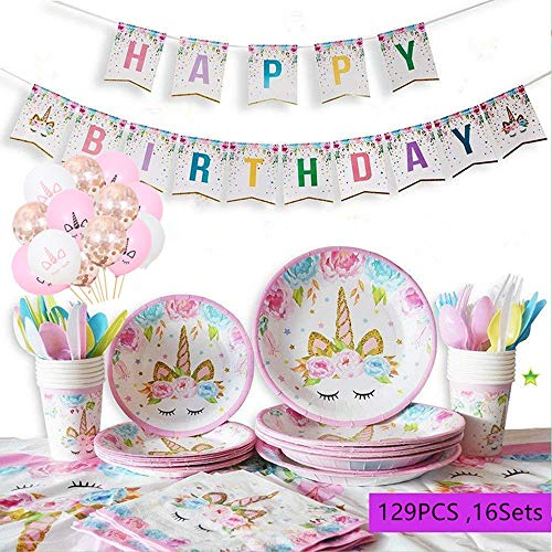 Topways® 129 Stück Einhorn Party Zubehör-Kinder Geburtstag Partyzubehör Set für 16 Kinder, Unicorn Party Decorations Mit Utensilien Teller, Tassen, Tischdecken, Banner Dekoration & Ballons