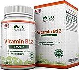 Vitamina B12 - Meticobalamina - 1000 mcg - 180 Comprimidos (Suministro para 6 meses) - Complemento alimenticio de Nu U Nutrition