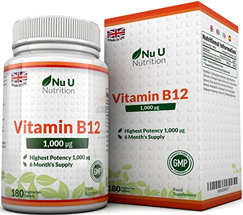 Vitamin B12 Methylcobalamin 1000mcg 180 Tablets (6 Month's Supply) Vitamin B12 1000mcg, Sublingual B12 by Nu U Nutrition Test