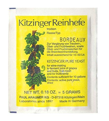 WEINHEFE BORDEAUX Arauner Kitzinger - Trocken Reinhefe für 50L | Naturhefe | Obstwein hefe | Hefenährsalz | Alkoholhefe | Methefe | Apfelweinhefe