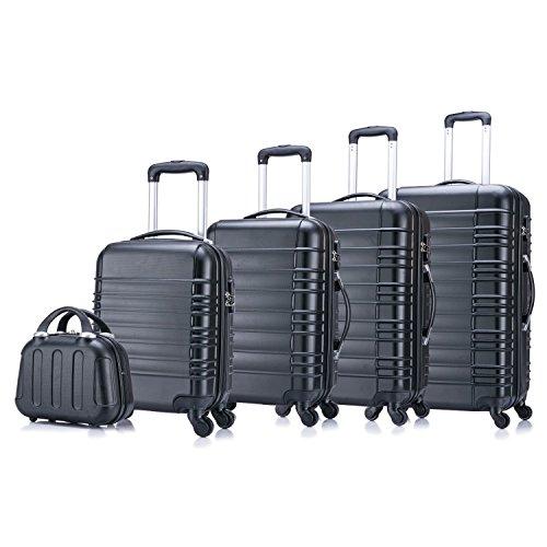 5 teiliges Koffer Set Hartschalenkoffer von Jalano Reisekofferset ineinander stapelbar Gepäck Set Koffer Trolley Hartschale in 4 Farben, Farbe:schwarz