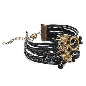Retro romantic three strands braided multila bracelet