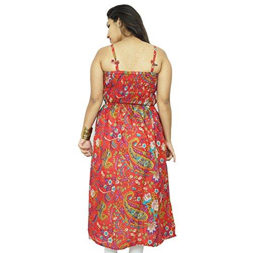 Floral Patter Baumwollkleid Spaghetti Bügel Frauen tragen Sommer Tunika Sommerkleid Rot