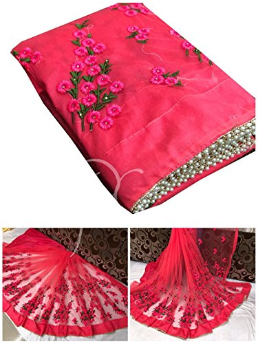 Orangesell Net Saree (Red, Free Size)