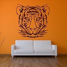 Retrato de la cabeza de los tigres Gato salvaje Animales tribales vinilos decorativos Inicio art pegatinas disponible en 5 tamaños y 25 colores X-Grande Blanco