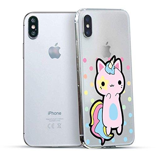 finoo | Iphone X Hard Case Handy-Hülle mit Motiv | dünne stoßfeste Schutz-Cover Tasche in Premium Qualität | Premium Case für Dein Smartphone| Einhorn Überall Einhorn Katze
