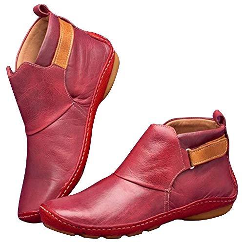Loozykit Kunstleder Stiefeletten Herbst Vintage Damen Bequeme Flache Fersenstiefel Reißverschluss Kurzer Boot Runde Kappe Schneeschuhe Weiche Handgemachte Schuhe