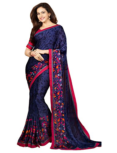 JULEE Women's Georgette Printed Saree (Free Size_Blue and Pink)