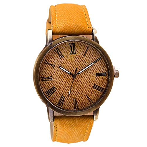 Vamoro Retro Vogue Armbanduhr Cowboy Lederband Analog Quarzuhr Digitaluhren Sportuhr Classic Minimalistisches Design Armband(Orange)