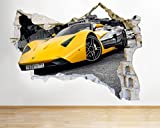 Car Yellow Sport Cool Kids Bedroom  Smashed Wall Decal 3D Art Stickers Vinyl RoomKids Bedroom Baby Nursery Cool Livingroom Hall Boys Girls