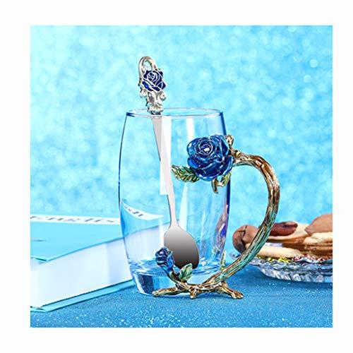 Blumen Teetasse, Bleifreie Handgemachte Glasemailbecher Kaffeetasse Mit Löffel, Frau, Valentinstag, Muttertag,Geburtstagsgeschenk,Blau,E