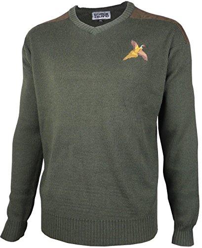 Fasan gestickter Pullover aus Wolle mit V-Ausschnitt Jagd