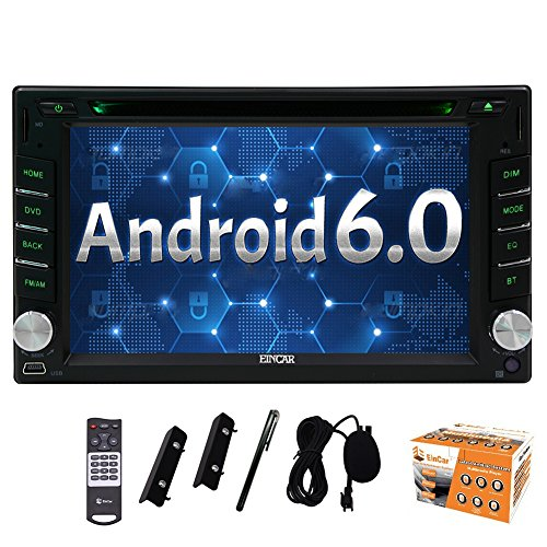 Din Car Double Stereo Navigation (Eincar Car Radio DVD Player Android 6.0 Marshmallow Stereo System Universal Double din Capacitive Touch Screen 6.2inch Car DVD Player Support Bluetooth GPS Navigation Steering Wheel 1080P USB SD OBD2 Wifi 4G/3G Cam-in Include External Microphone)