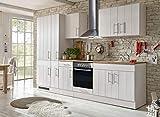 respekta Küche Küchenzeile Küchenblock Landhausküche Einbauküche Komplettküche 300cm weiß
