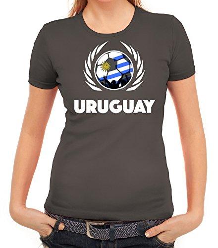 ShirtStreet Wappen Soccer Fussball WM Fanfest Gruppen Fan Wappen Damen T-Shirt Fußball Uruguay Dunkelgrau