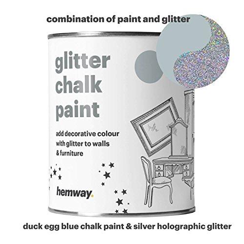 Hemway enteneier-blaue Kreidefarbe (mit Glitzer) matter Oberfläche, für Wände und Möbel, Farbe 1L,  Shabby-Chic, Vintage, kalkweiße Kristalle (in 25glitzernden Farben erhältlich), silber - Blaue Rustikale Kommode