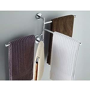 L hm porta asciugamani da parete muro 4 bracci mobili - Amazon porta asciugamani bagno ...