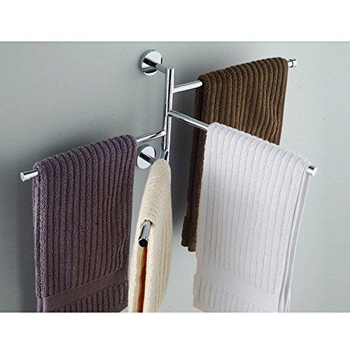 L&HM Porte-serviettes Support Mural/Sèche-Serviettes en Acier Inoxydable avec 4 Barres Rotatives pour salle de bain/cuisine/lavabo 38 x 23.5CM
