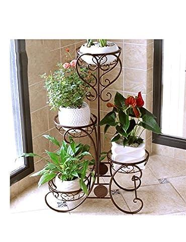 QiangDa Étagère végétale- Style Européen Fer Multi - étagère Folding Flower Pot Rack Balcon Fleurs Pots Frame Bois Massif Racks Étagère en pot ( Couleur : Brass , taille : 82cm )