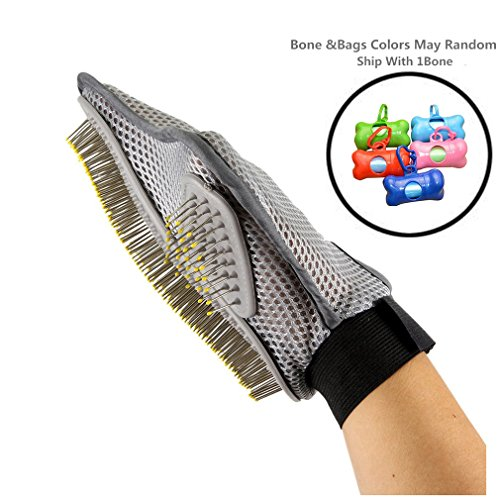 Pet Grooming Glove Brush * Deshedding Tool * For Long and Short Hair Grooming of Dogs, Horses, Best Cat and Dog Grooming Brush * Bathing Brush