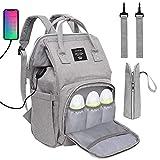Baby Wickelrucksack Wickeltasche, Multifunktional Große Kapazität Babytasche Reisetasche für Unterwegs, Grau