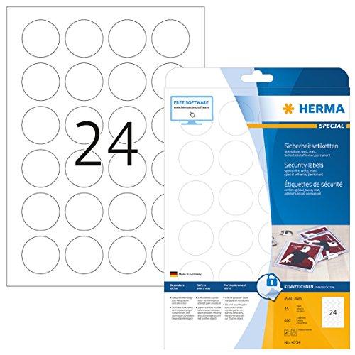 HERMA 4234 Sicherheitsetiketten gegen Manipulation DIN A4 (Ø 40 mm, 25 Blatt, Spezialfolie, matt, rund) selbstklebend, bedruckbar, permanent haftende Folien-Etiketten, 600 Klebeetiketten, weiß