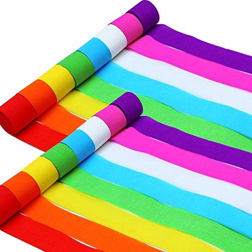 Aneco 92 Metri Festa Carta Crespa Festoni Festa Streamer Decorazioni per La Festa di Compleanno di Vari Colori Carta Matrimonio Concerto e Vari Festival, 16 Rotoli