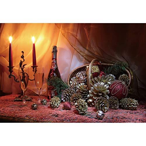 Tannenzapfen Schreibtisch (OERJU 1,5x1m Weihnachten Hintergrund Leuchter Wein Korb Tannenzapfen Schreibtisch Vorhang Hintergrund Frohe Weihnachten Porträt Produkt Banner-Poster Fotografie Requisiten)