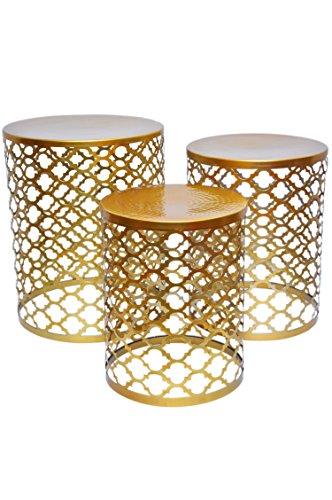 MAADES Design Marokkanische Hocker Beistelltische Sitzhocker Metall Rund – Hoka