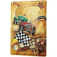 Cartel de chapa Placa metal tin sign Placas Poster Garaje Vintage carrera de bandera a cuadros coche Gas Estaciones Decoración 20X30 cm