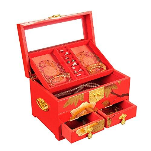 Lacquerware Monili con serratura di sicurezza Collane Orecchini rettangolari bagagli