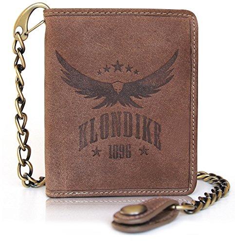 """Klondike 1896 Geldbörse mit Kette aus echtem Leder """"Wayne Eagle"""" für Herren, Echtleder Portemonnaie, braun (Western Geldbörse Flache)"""