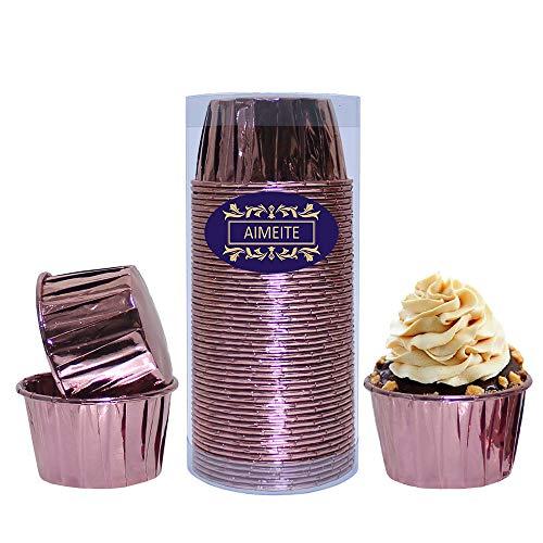 AIMEITE Cupcake Formen Papier,Aluminium Folie Cupcake Liners Cupcake Backförmchen Papier Backen Muffin Förmchen Papier Cupcake Wrappers 50 Stück-Set (Rose Rot) (Rose Papier-backförmchen)