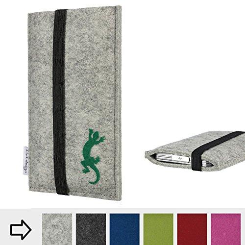 Tablet Tasche COIMBRA mit Gecko und Gummiband-Verschluss für Blaupunkt Endeavour 1100 - Filz Schutz Case Etui Made in Germany in hellgrau schwarz grün - passgenaue Tablethülle für Blaupunkt Endeavour 1100